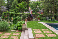 Paving can be softened with grass instead of mortar between the pavers.