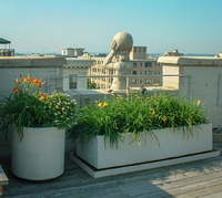A gargoyle stands watch on this penthouse rooftop garden.